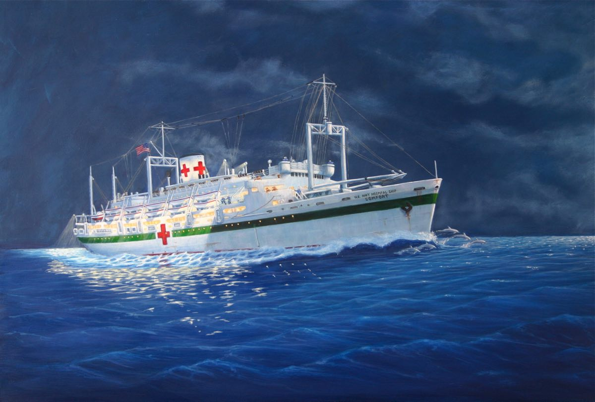 painting of the USS Comfort